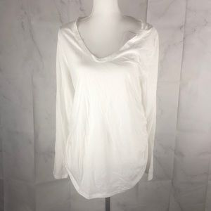 White, Long Sleeve, Scoop Neck Maternity Tee Shirt